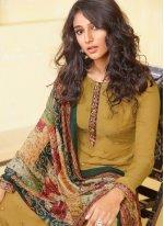 Mustard Festival Muslin Designer Straight Salwar Suit
