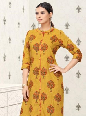 Mustard Festival Party Wear Kurti