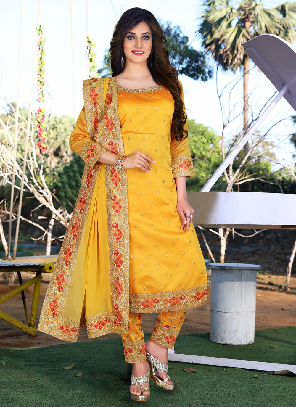 Mustard Festival Readymade Suit