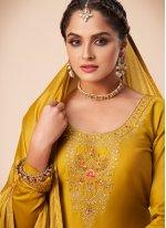 Mustard Festival Silk Bollywood Salwar Kameez