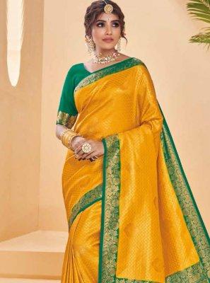 Mustard Festival Silk Designer Saree