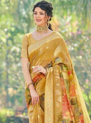 Mustard Festival Traditional Designer Saree