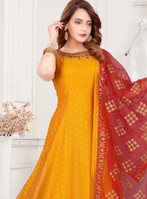 Mustard Floor Length Anarkali Suit