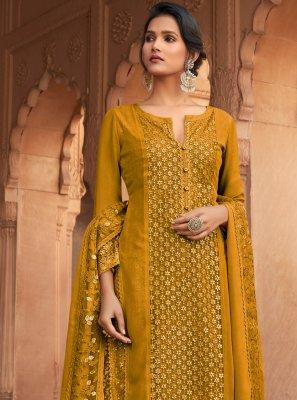 Mustard Georgette Embroidered Designer Pakistani Suit