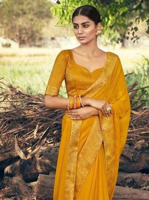 Mustard Lace Trendy Saree