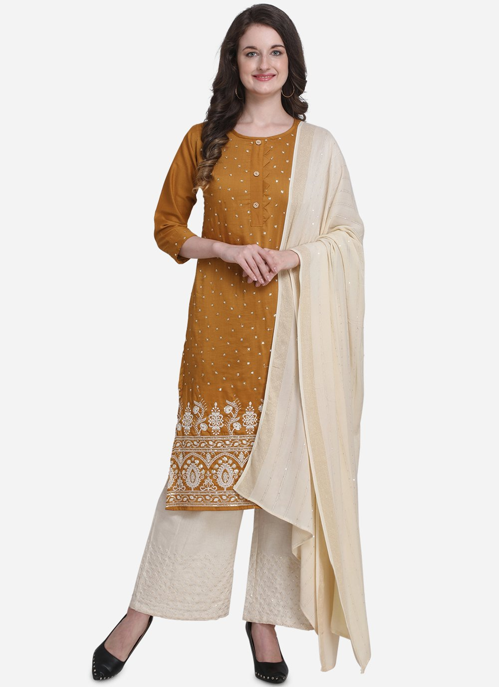 Mustard Party Palazzo Salwar Suit