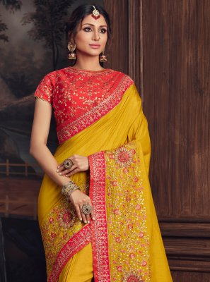 Mustard Patch Border Festival Traditional Saree