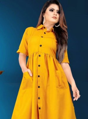 Mustard Plain Designer Kurti