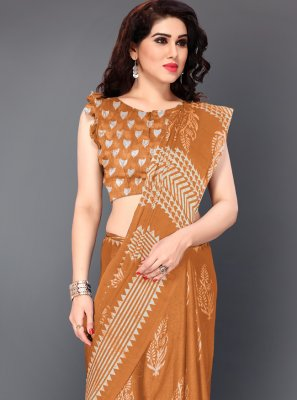 Mustard Printed Festival Contemporary Saree