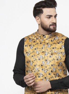 Mustard Printed Nehru Jackets