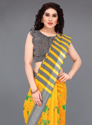 Mustard Printed Saree