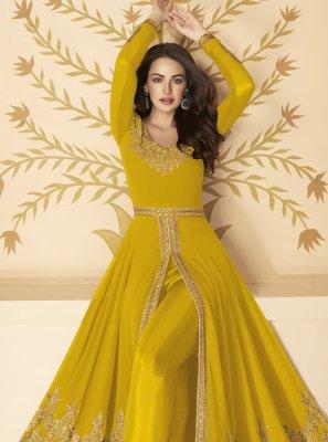 Mustard Resham Faux Georgette Anarkali Salwar Kameez