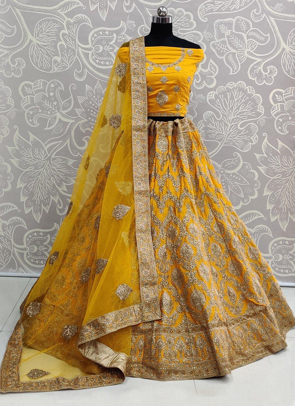 Mustard Satin Silk Bollywood Lehenga Choli