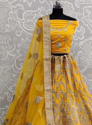 Mustard Satin Silk Bollywood Lehenga Choli