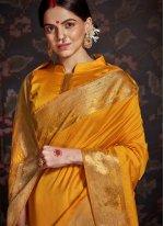 Mustard Silk Ceremonial Designer Traditional Saree