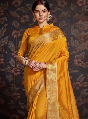 Mustard Silk Ceremonial Designer Traditional Saree