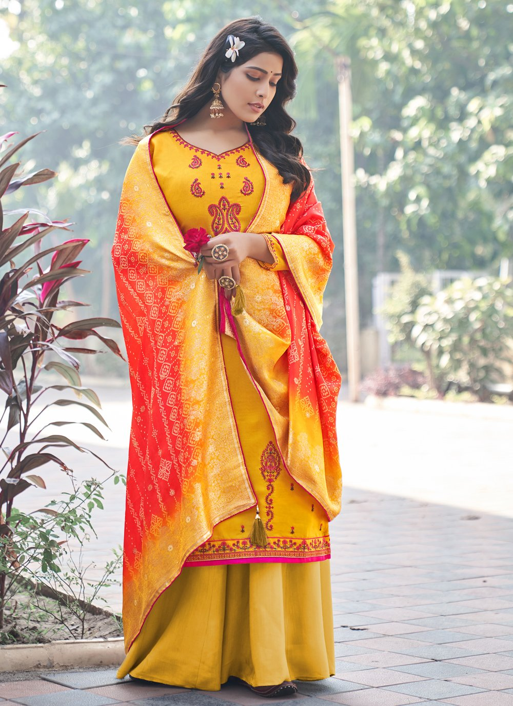 Mustard Silk Embroidered Designer Palazzo Suit