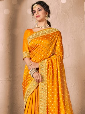 Mustard Silk Patch Border Traditional Saree