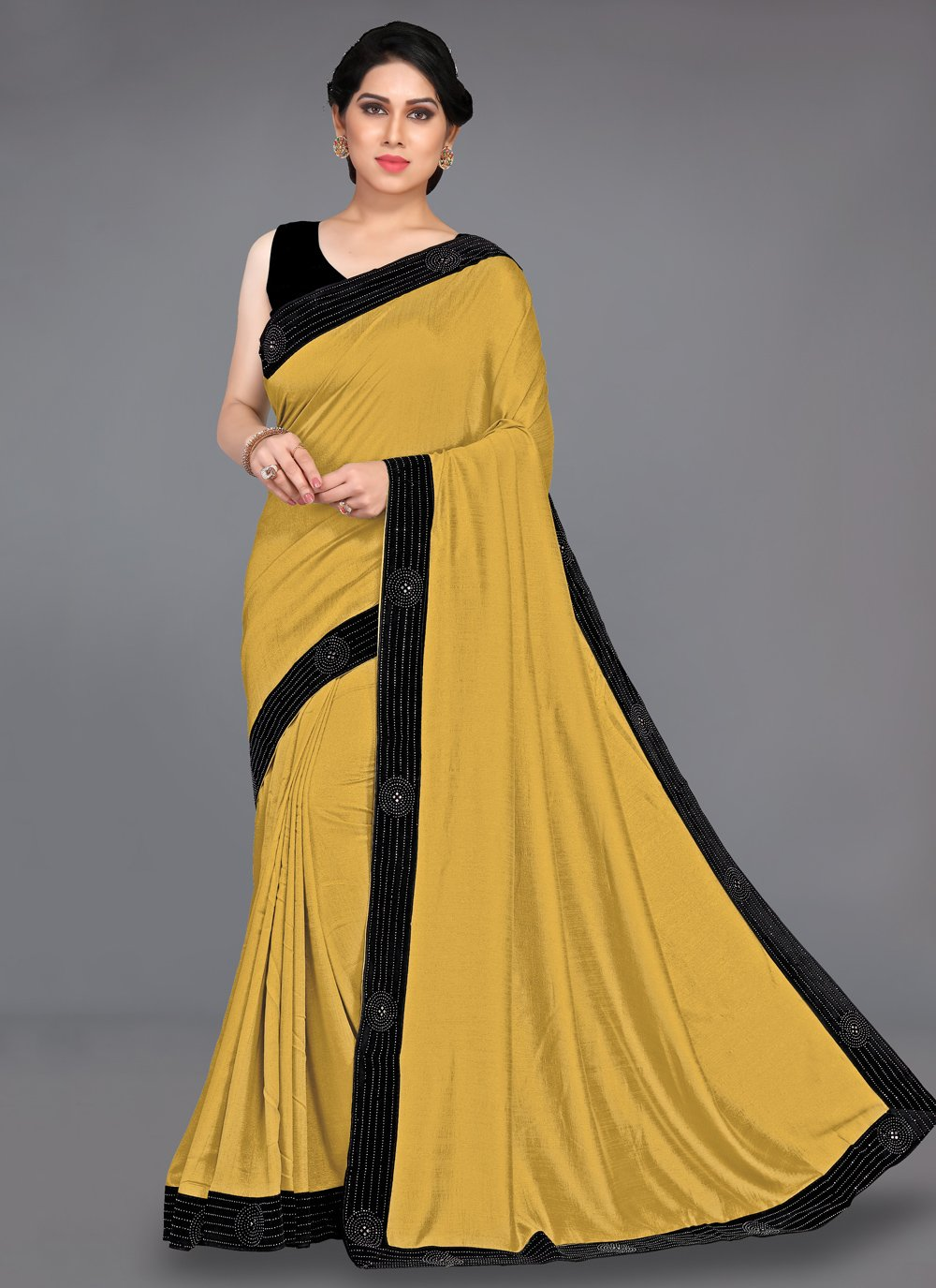 Mustard Stone Silk Traditional Saree