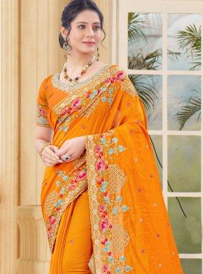 Mustard Vichitra Silk Embroidered Traditional Designer Saree