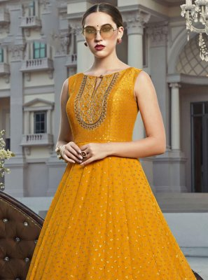 Mustard Viscose Readymade Gown