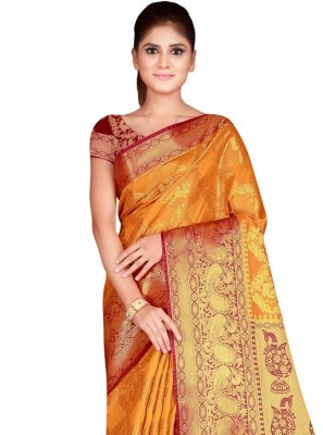 Mustard Weaving Ceremonial Designer Traditional Saree
