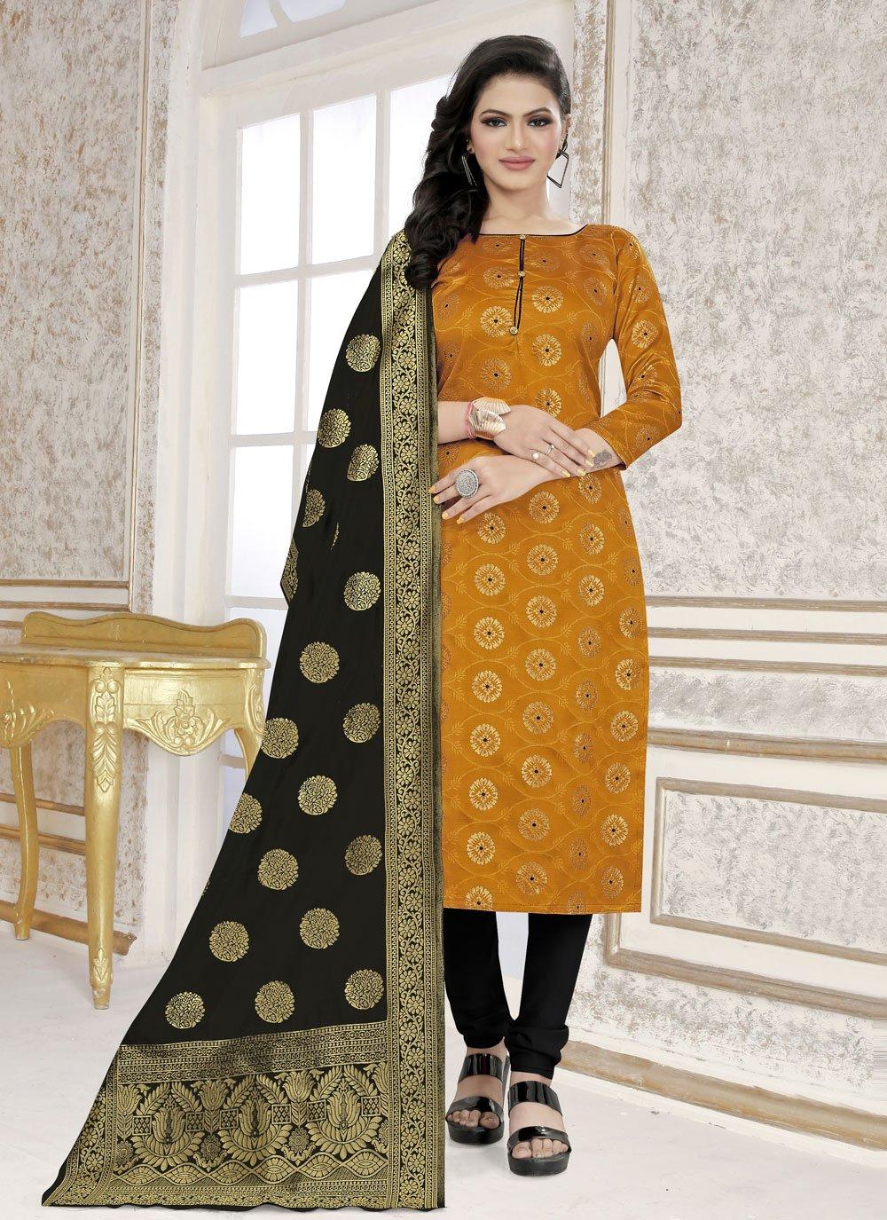 Mustard Weaving Churidar Suit