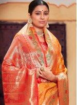 Mustard Weaving Contemporary Saree