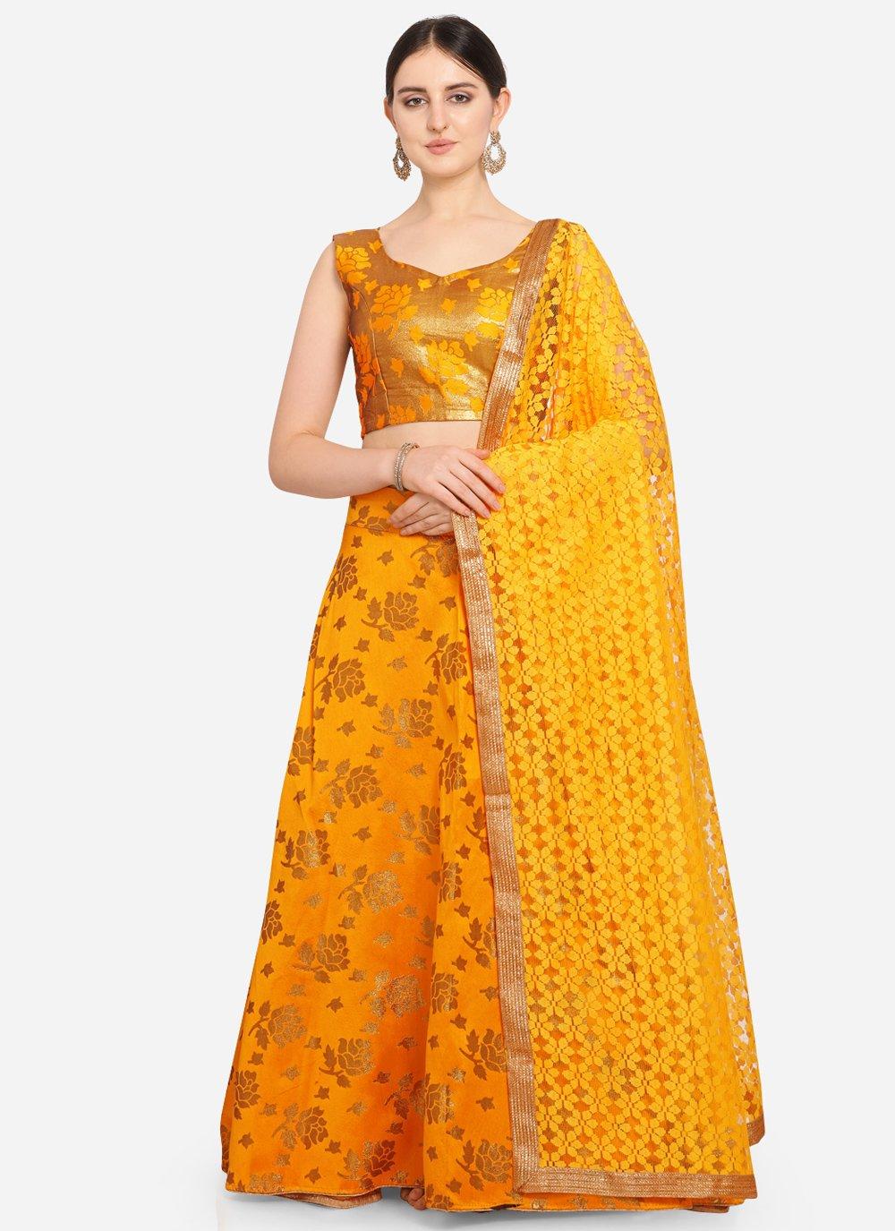 Mustard Weaving Jacquard Lehenga Choli