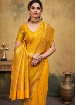 Mustard Weaving Kanjivaram Silk Traditional Designer Saree