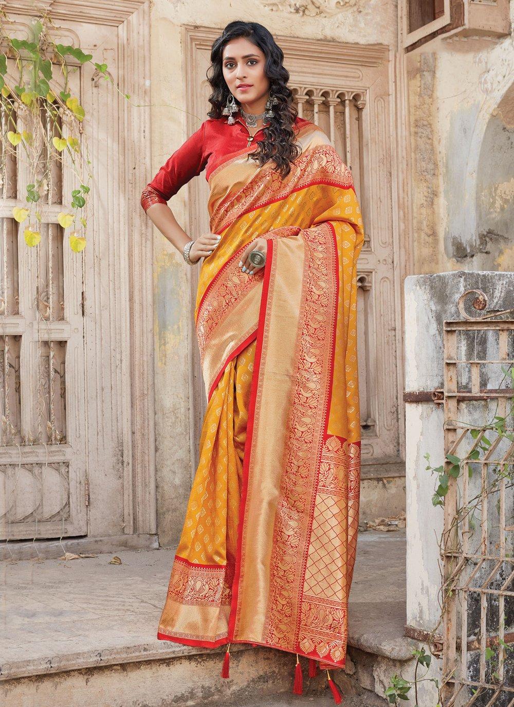 Mustard Weaving Silk Traditional Designer Saree