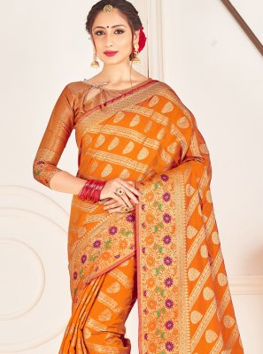 Mustard Woven Art Banarasi Silk Traditional Designer Saree