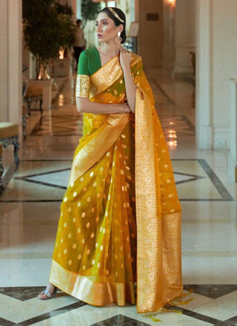 Mustard Woven Ceremonial Traditional Designer Saree