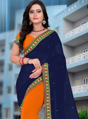 Navy Blue and Orange Embroidered Half N Half  Saree