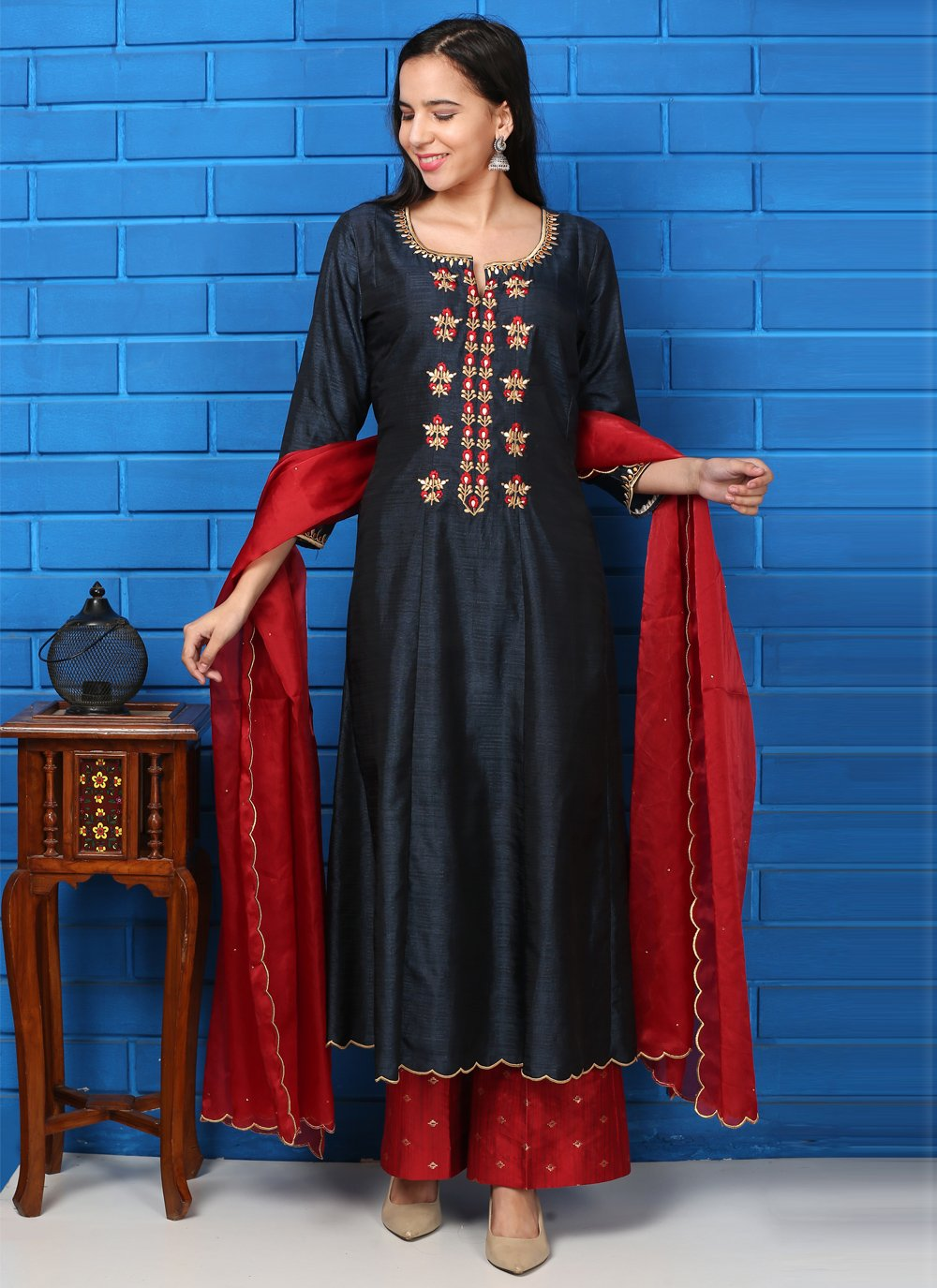 Navy Blue and Red Silk Readymade Suit