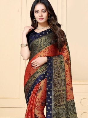Navy Blue and Rust Faux Chiffon Classic Saree