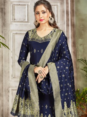 Navy Blue Art Banarasi Silk Ceremonial Pant Style Suit