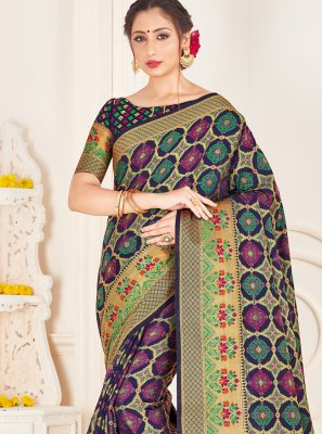 Navy Blue Art Banarasi Silk Traditional Designer Saree