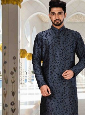 Navy Blue Art Dupion Silk Kurta Pyjama