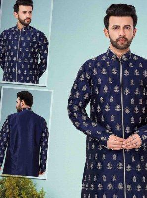 Navy Blue Art Dupion Silk Mehndi Kurta Pyjama