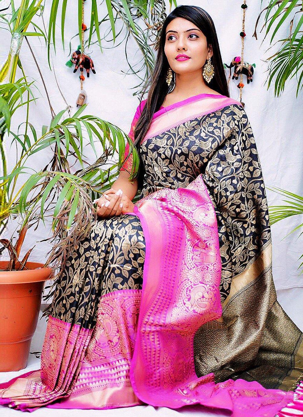 Navy Blue Banarasi Jacquard Printed Designer Saree