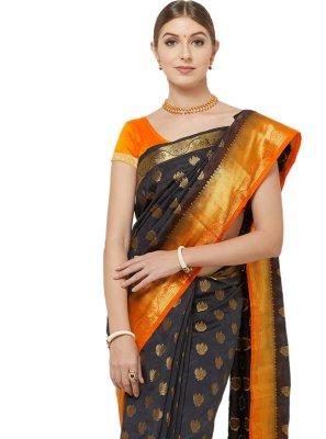 Navy Blue Banarasi Silk Designer Traditional Saree