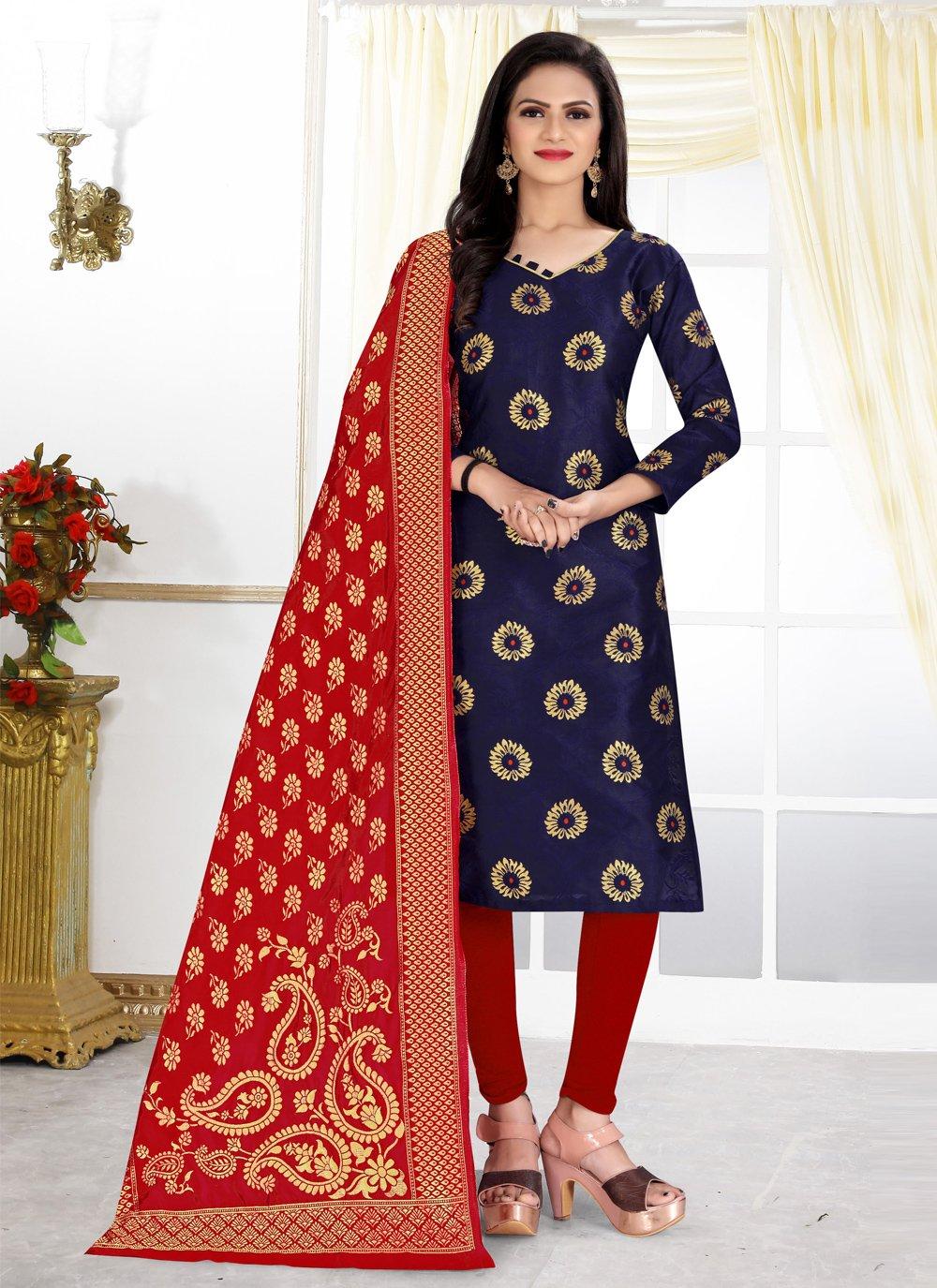 Navy Blue Banarasi Silk Weaving Churidar Designer Suit