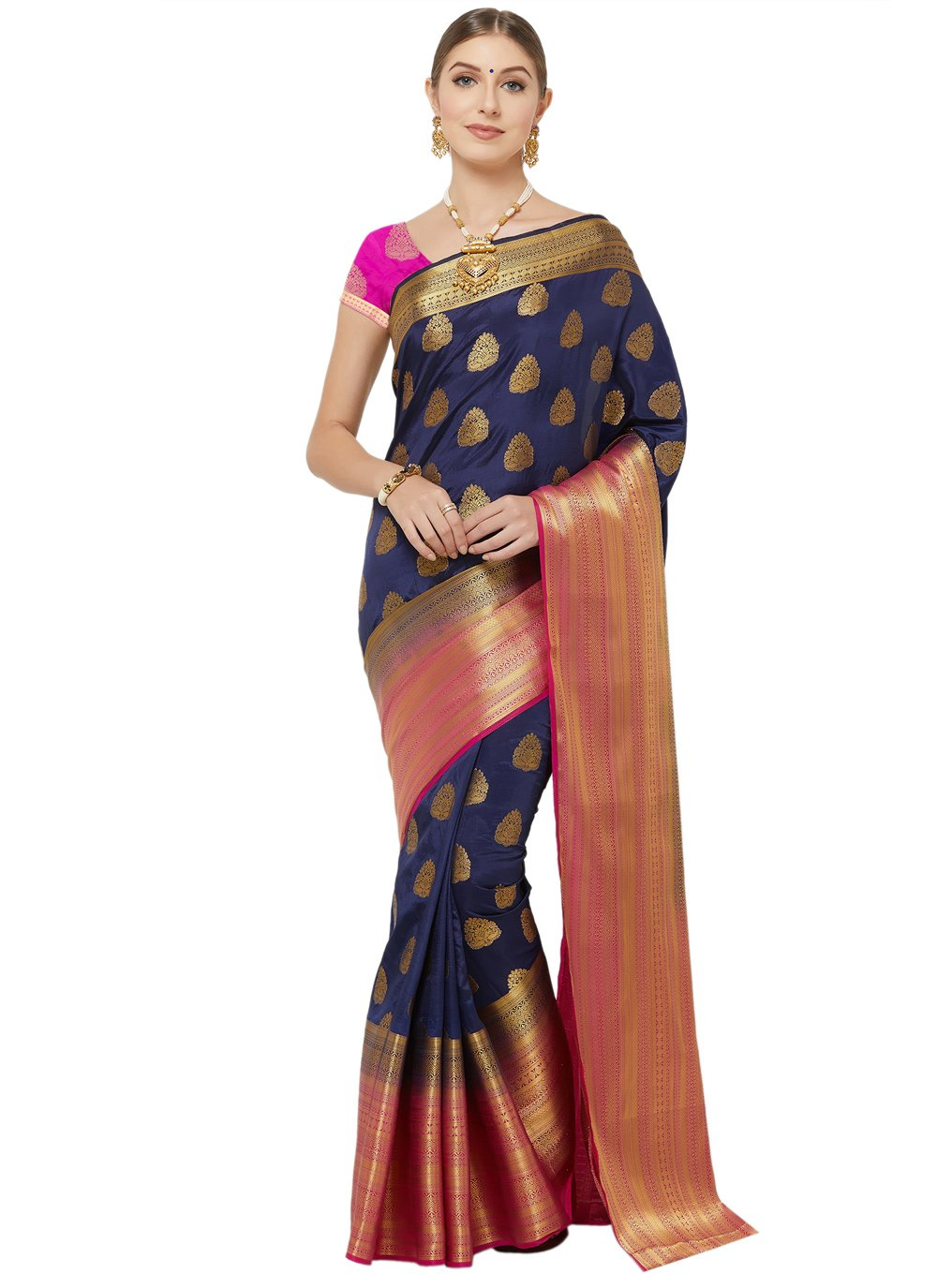Navy Blue Banarasi Silk Woven Designer Traditional Saree