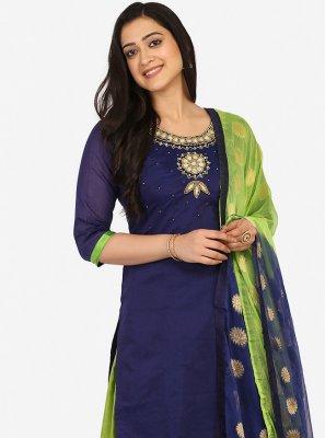 Navy Blue Blended Cotton Patiala Suit