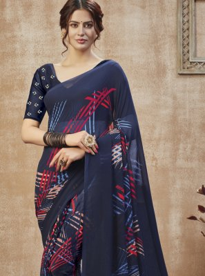 Navy Blue Casual Printed Saree