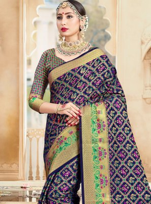 Navy Blue Ceremonial Art Banarasi Silk Traditional Designer Saree