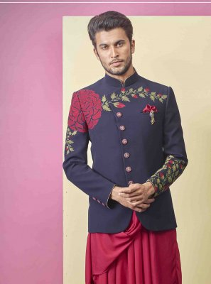 Navy Blue Ceremonial Fancy Fabric Indo Western