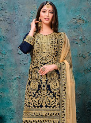 Navy Blue Ceremonial Faux Georgette Trendy Salwar Kameez