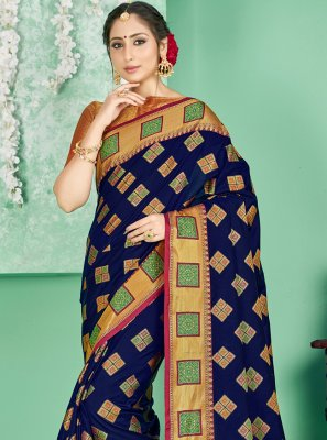 Navy Blue Ceremonial Traditional Saree